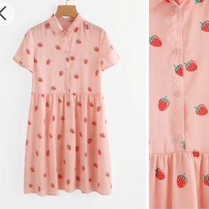 🍓 Strawberry Print Pink Half Placket Smock Dress